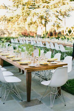 Long Banquet Table at Modern Backyard Reception