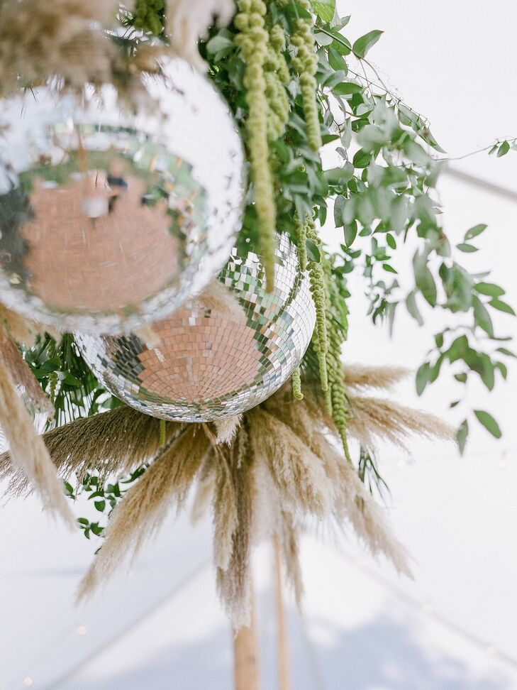 Disco Ball and Pampas Grass Chandelier at Vermont Wedding