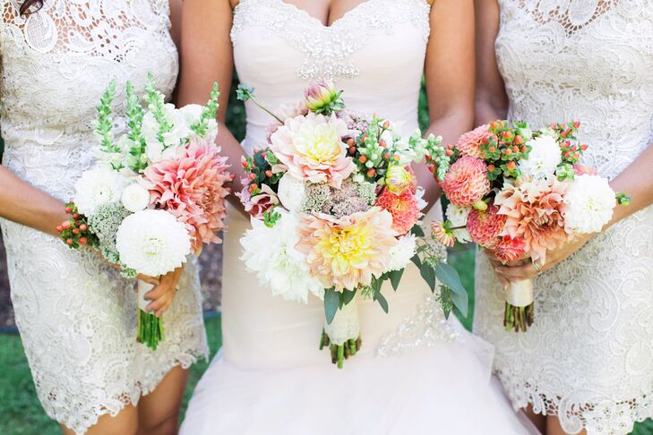 The bouquets were filled with dahlias, snapdragons and seeded eucalyptus. The dahlias were sourced from a local dahlia farm and the wedding party built their bouquets the night before the wedding.