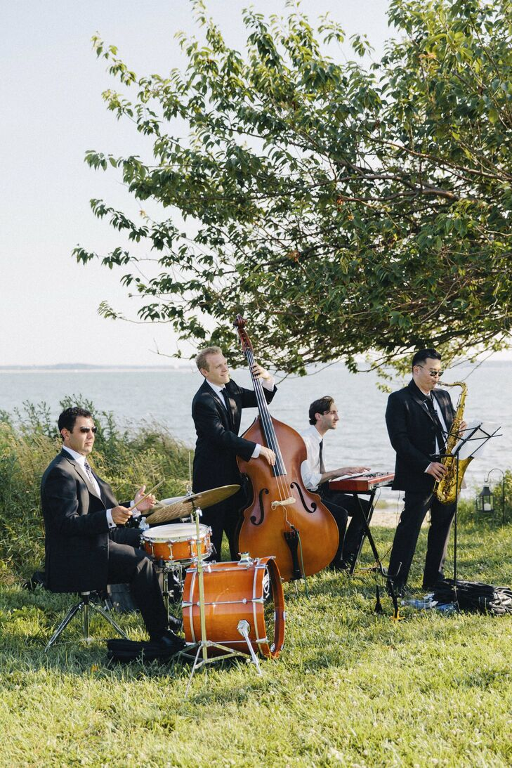 The bride and groom hired a jazz quartet to play during the ceremony and afterward during the cocktail hour.