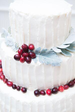 DIY White Wedding Cake with Cranberries