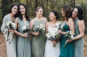 Bohemian Bridesmaids in Shades of Green