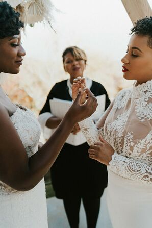 Couple Exchanging Rings During Ceremony in Asheville, North Carolina