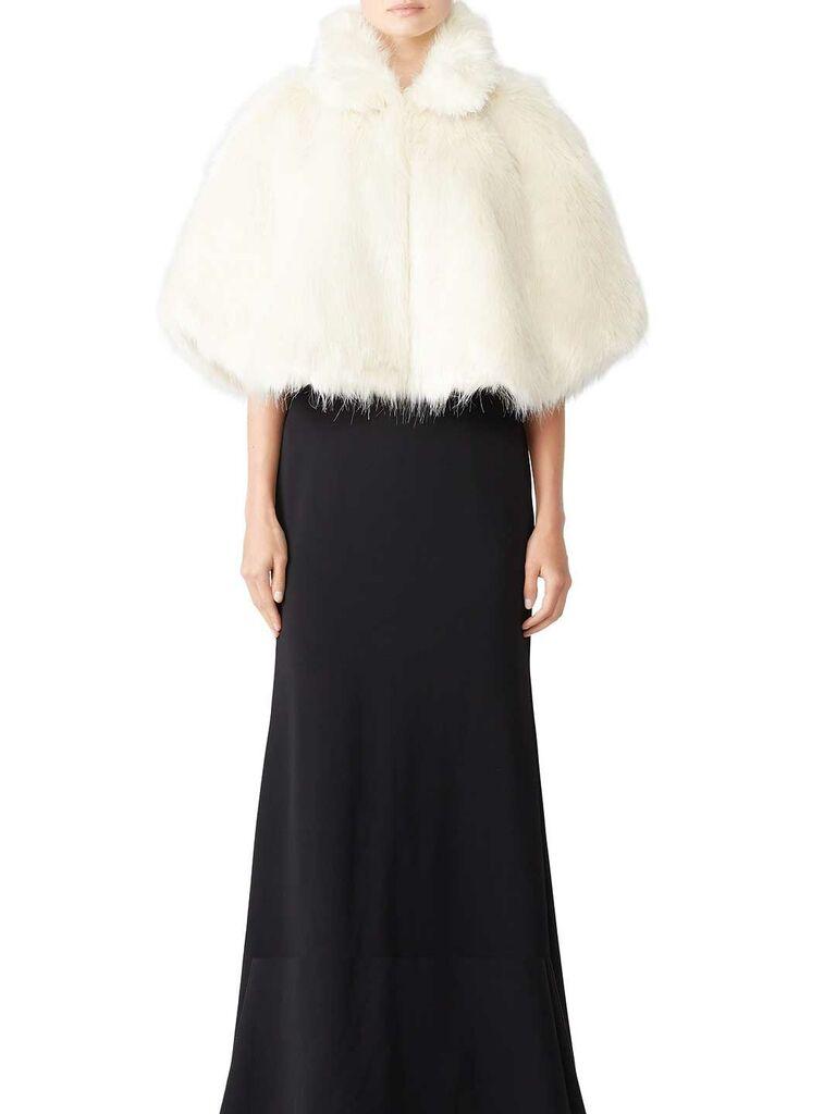 White faux fur wedding cape
