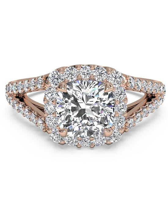 Ritani Cushion Halo Diamond 'V' Band Engagement Ring - in 18kt Rose Gold (0.50 CTW) for a Cushion Center Stone Engagement Ring photo