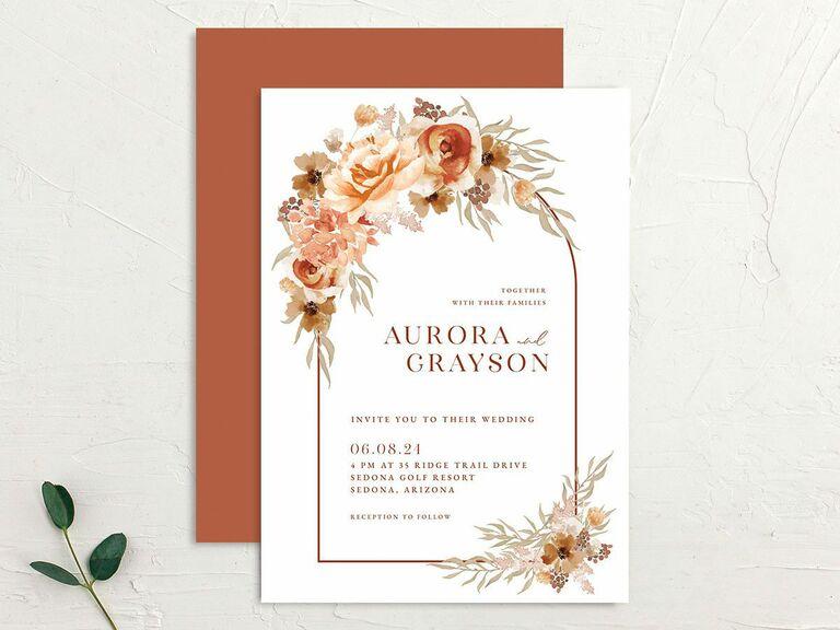 fall wedding invitations floral