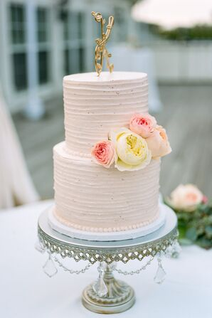 Blush Wedding Cake with Custom Gold Initial Topper
