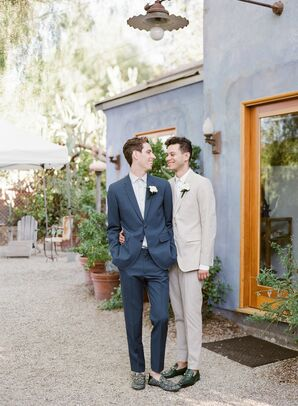 Grooms in Simple Suits at Wedding in California