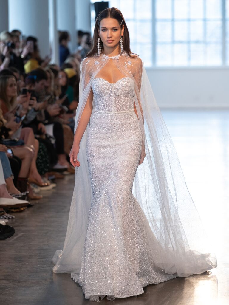 Berta Spring 2020 Bridal Collection fitted wedding dress with cape