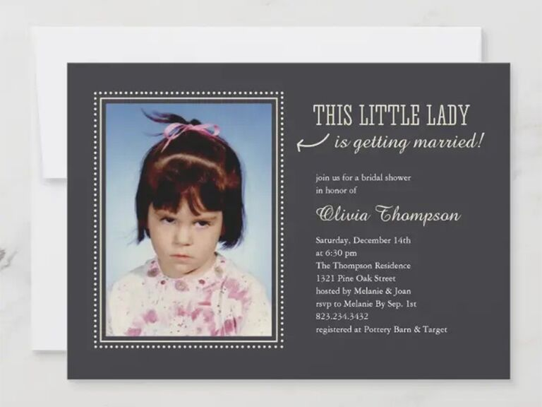 Personalized childhood photo on left side, 'This little lady is getting married' on right above event details in white type on dark gray background