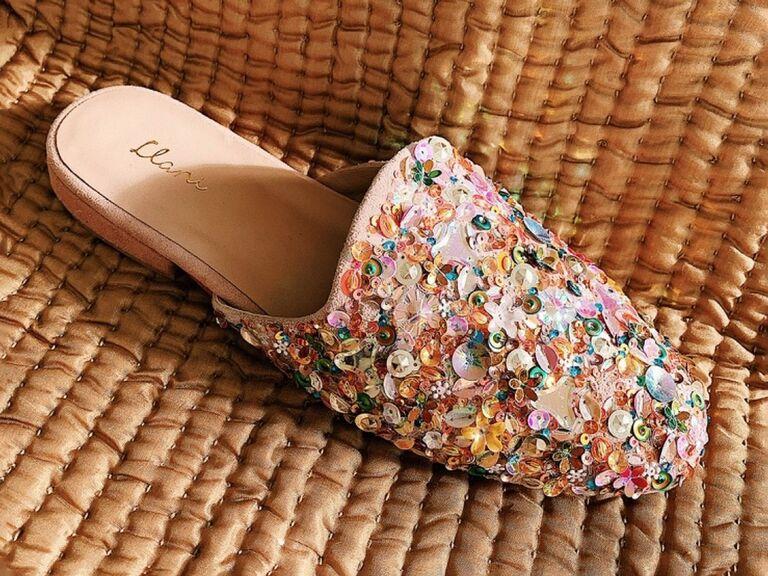 llani confetti colored sequin bride slippers