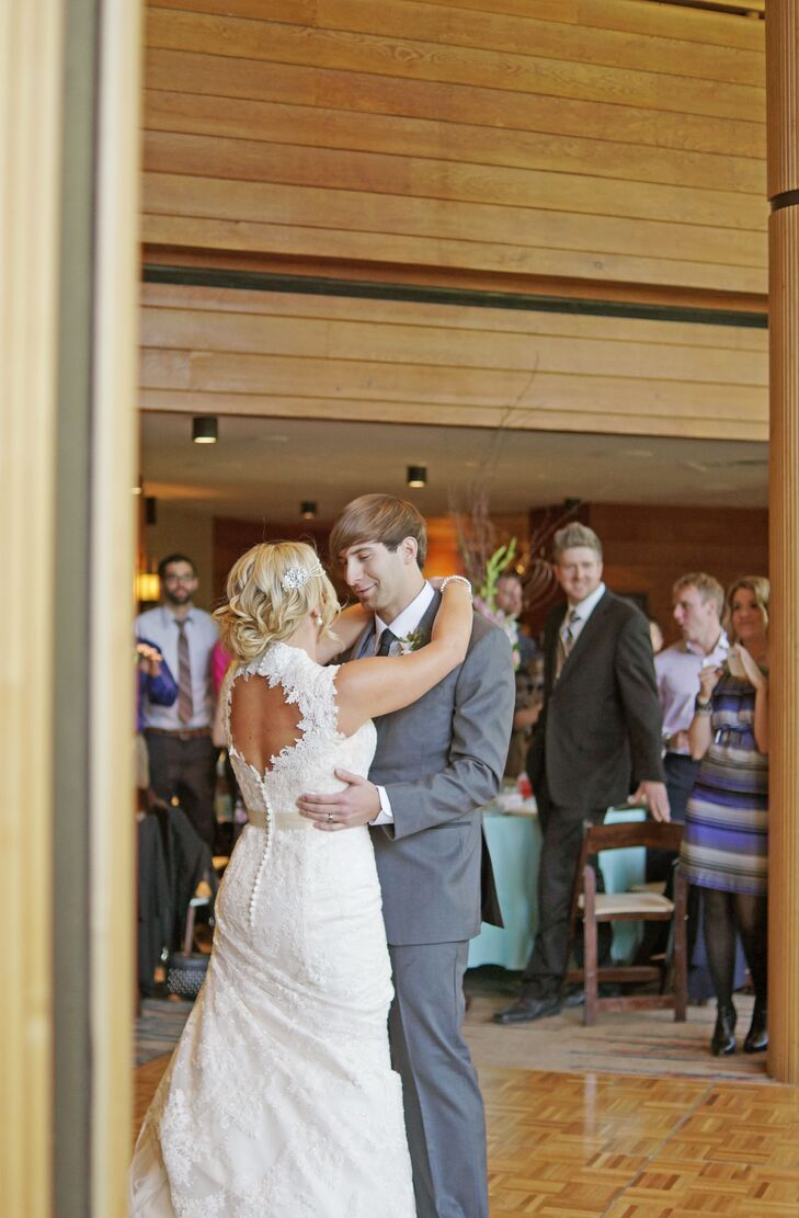 """Miranda and Eric shared their first dance to """"I Got You"""" by Jack Johnson. At their reception, they had a slide show of pictures, from their childhoods till their wedding day, playing in the backdrop."""