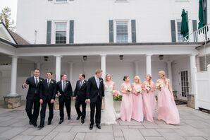 Traditional Pink and Black Wedding Party