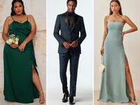 Collage of three black tie wedding guest outfits