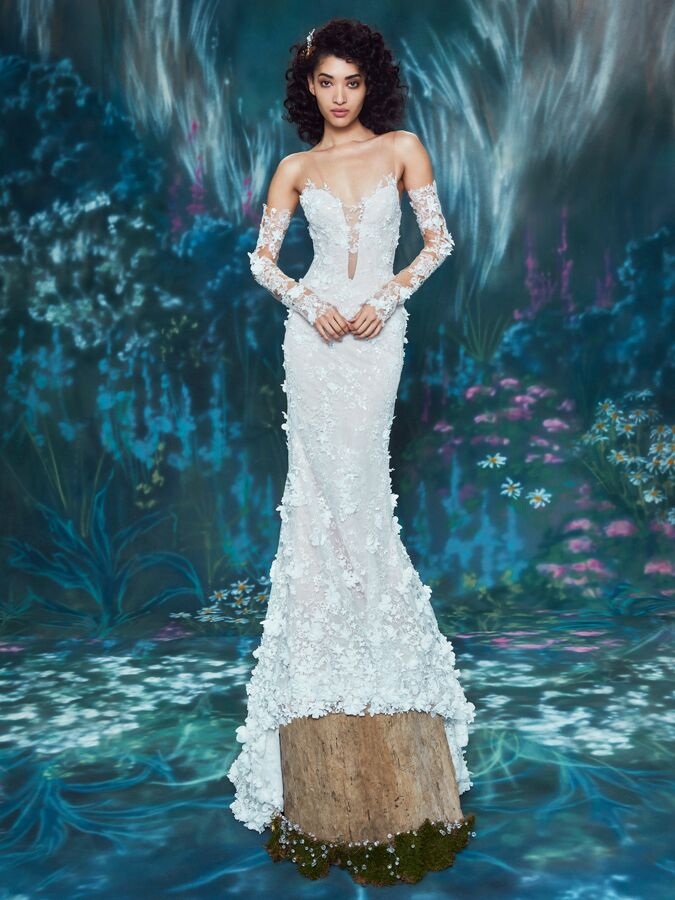Ines Di Santo long sleeve trumpet gown