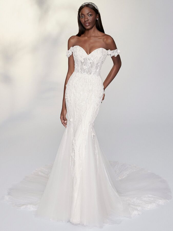 Justin Alexander Signature beaded fit-and-flare wedding dress