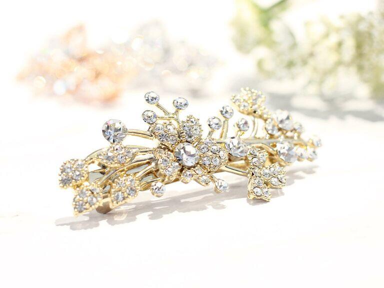 Pearl crystal hair barrette