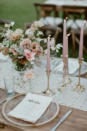 Place Setting with Menu and Dusty Pink Candles