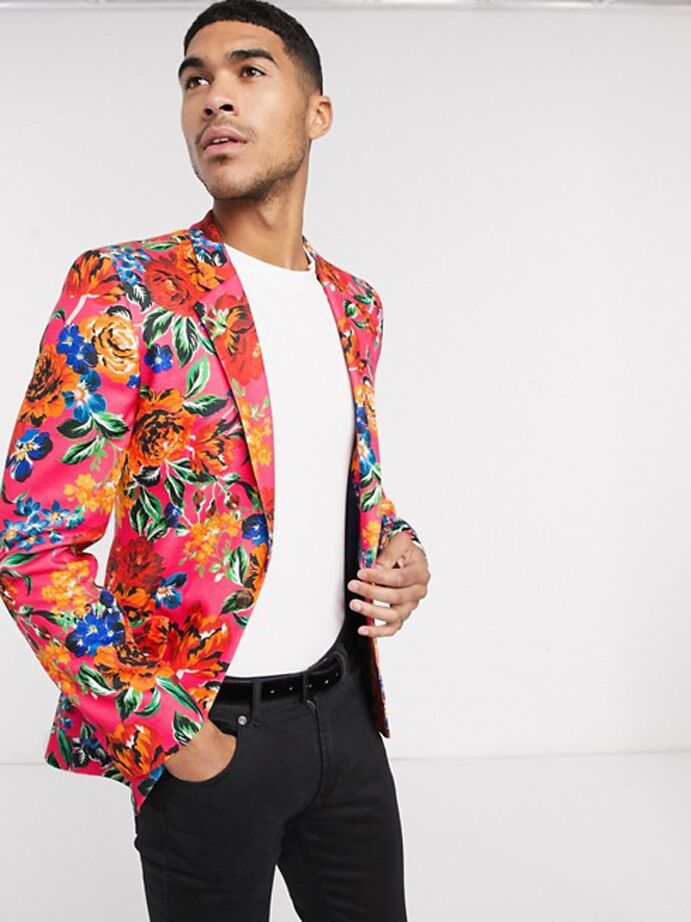 Red and pink floral print blazer