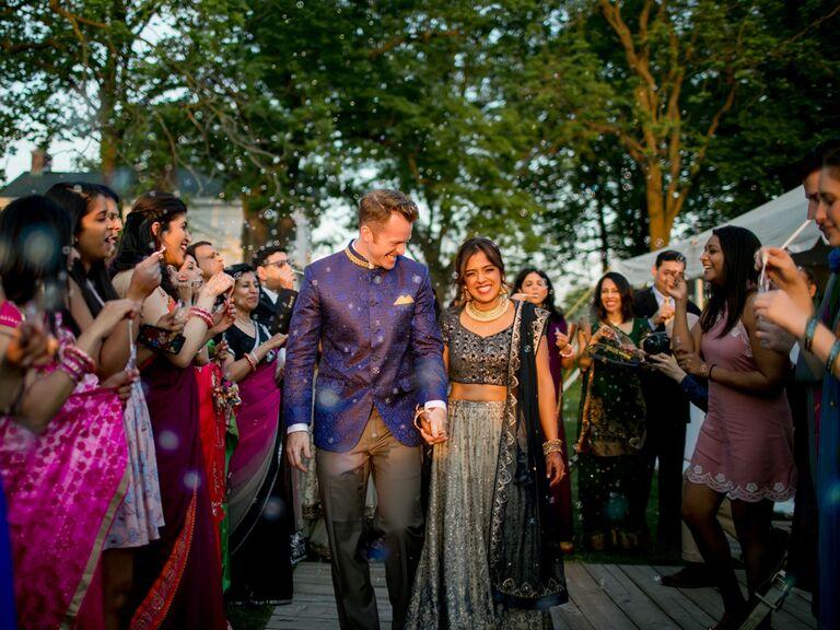Multicultural wedding reception exit