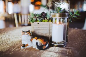 Whimsical Cat, Candle and Succulent Centerpiece