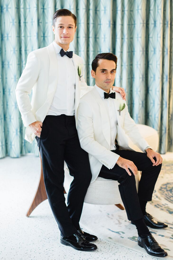 """""""We both wore J.Crew's cream Ludlow Dinner Jacket in Italian wool with white shirts and black J.Crew tuxedo pants,"""" Wes says. Wes wore a solid black bow tie, and Jay wore a navy one with white polka dots. """"We chose our own cuff links for a personal touch."""""""