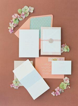 Peach-and-Teal Invitation for Wedding at The Inn at Rancho Santa Fe in California