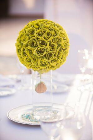 Modern Green Rose Ball Table Centerpieces