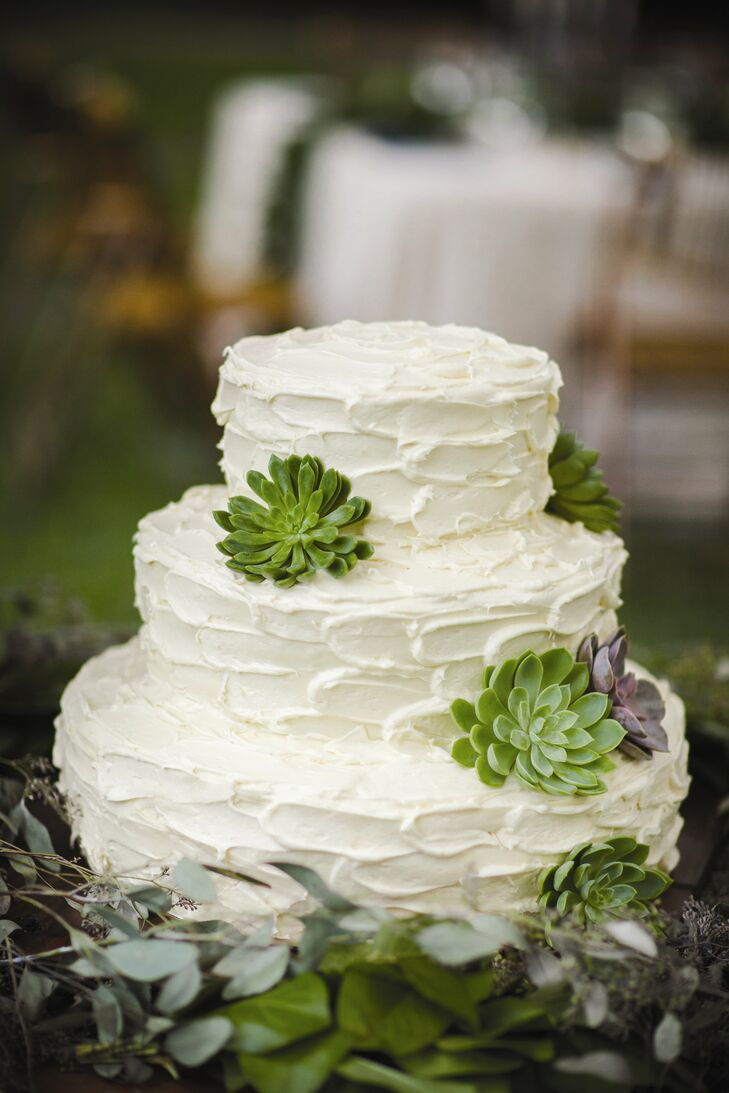 A few fresh succulents were placed on the sides of the carrot cake with cream cheese icing.
