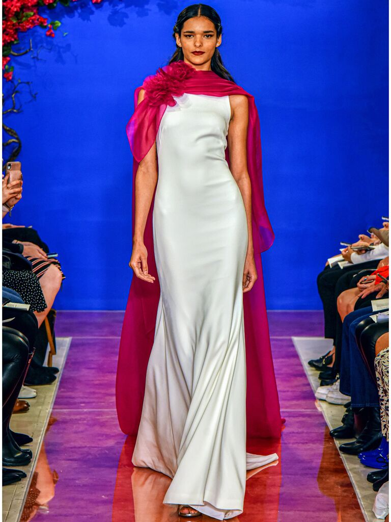 theia wedding dress with pink cape