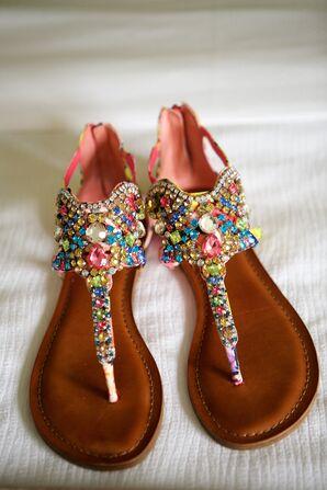 Colorful Rhinestone-Adorned Bridal Sandals