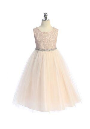 Kid's Dream Long Lace Illusion Dress w/ Rhinestone Trim Flower Girl Dress