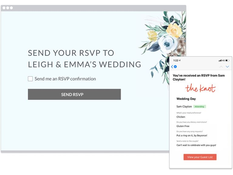 Screenshot of desktop RSVP feature on The Knot for guests and mobile notification for couple