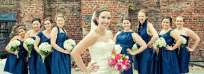 Bridesmaids in Navy Dresses of Different Styles