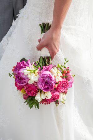 Bouquet with Freesias and Peonies