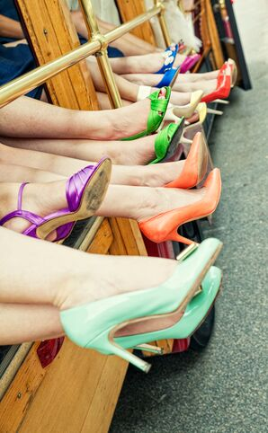 Different Colored Heels for Bridesmaids