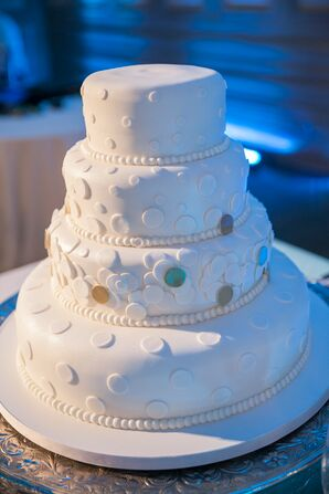 Four Tier White Wedding Cake with Confetti Dots