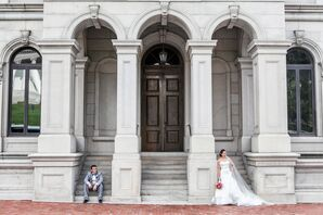 Bride and Groom at Cathedral of Sacred Heart