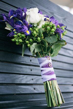 Irise Wedding Bouquet with Purple Wrap