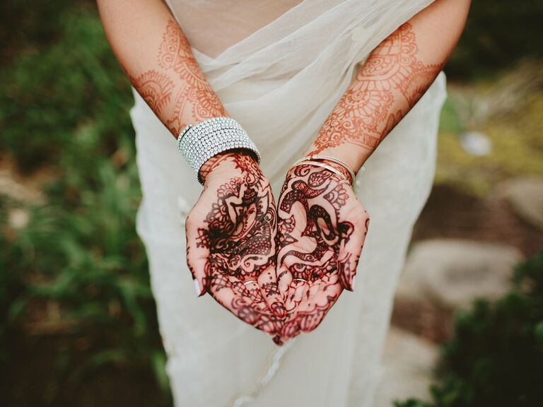 Palm and arm wedding henna designs