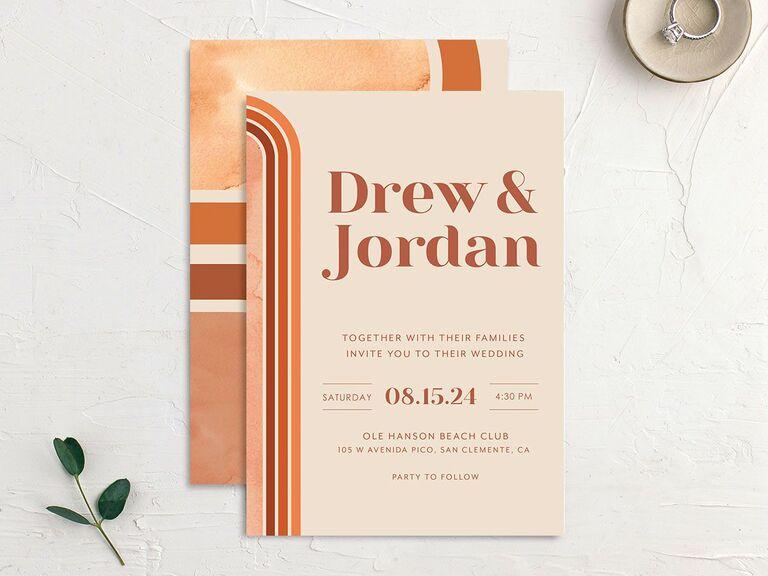 Wedding invitation trends retro colors