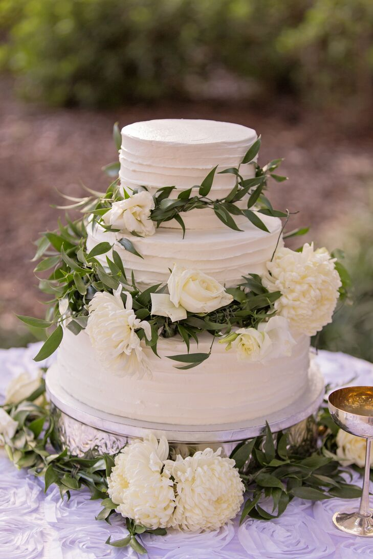 White Buttercream Cake with Fresh Flower Accents