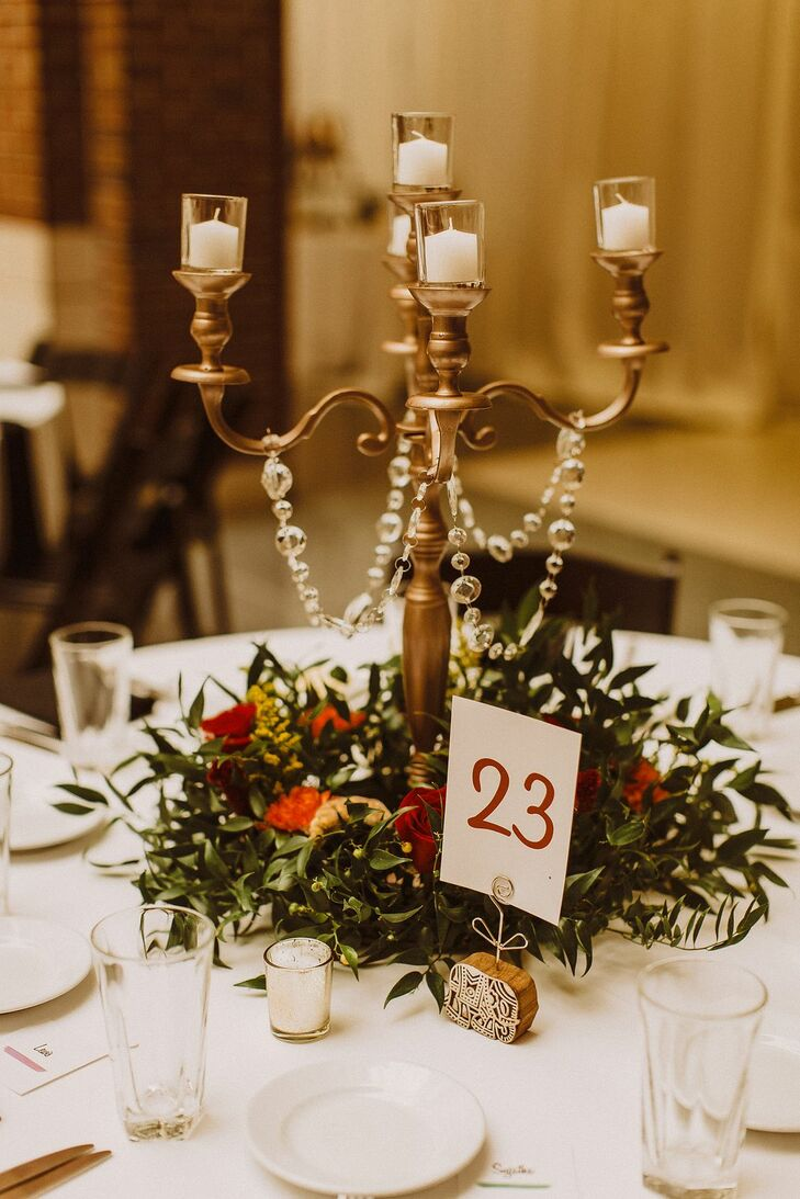 Candelabra Centerpiece With Greenery  at The Rattlesnake Club in Detroit, Michigan