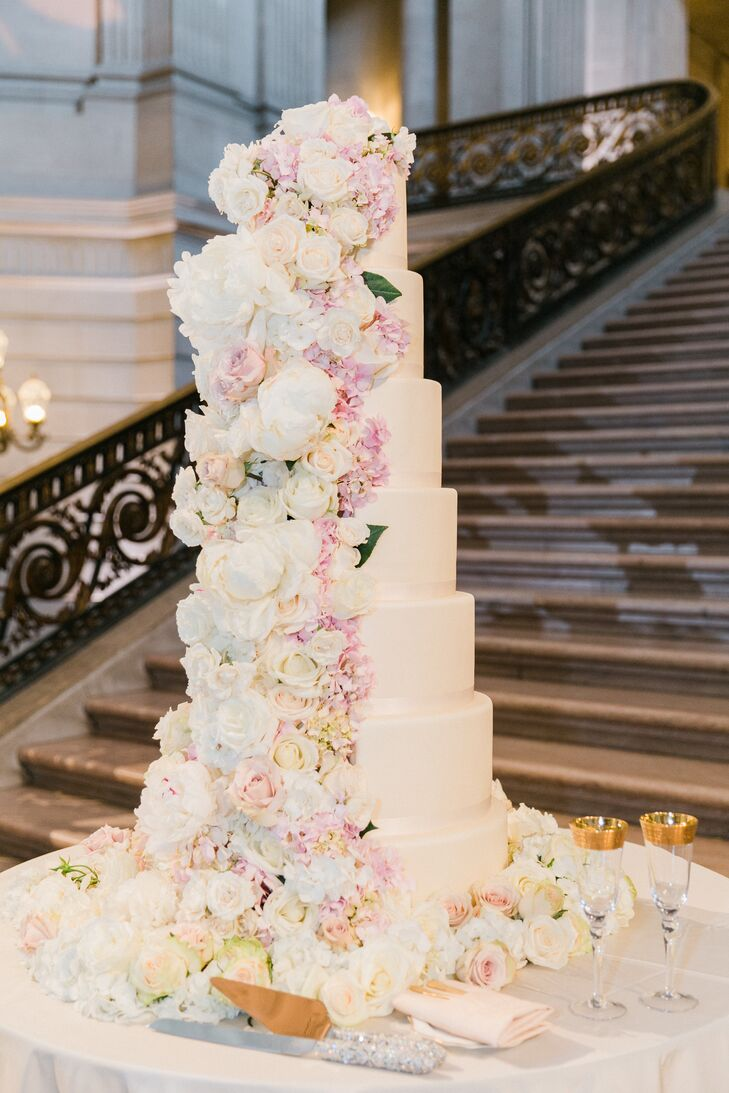 Seven-Tier Cake with Cascading Ivory and Pink Flowers