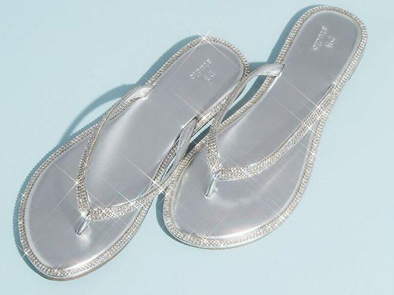 davids bridal metallic mother of the groom flip flops with crystal trim