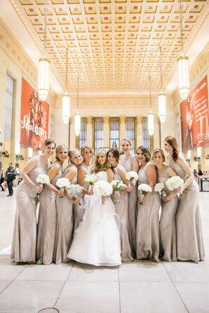 Bridesmaids in Taupe, Floor Length Bridesmaid Dresses
