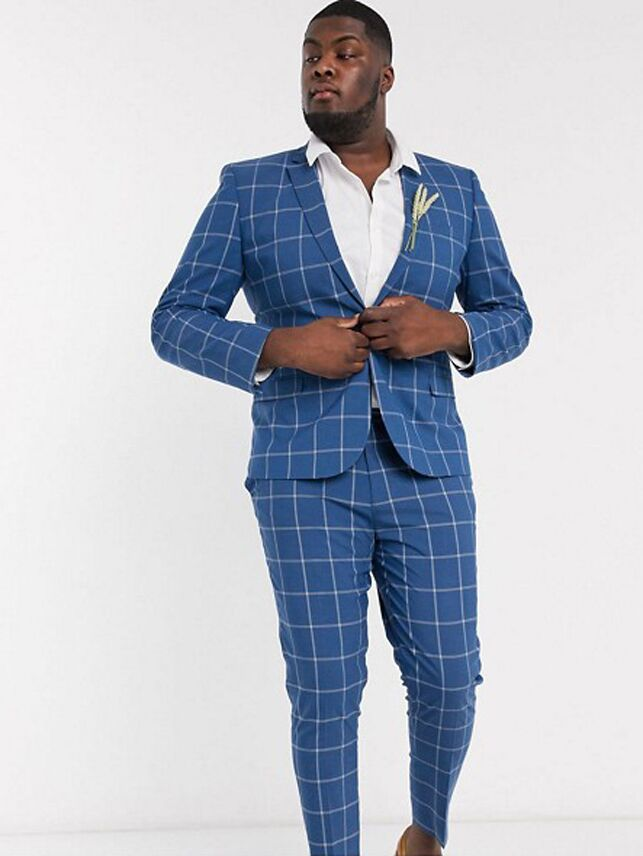 Blue and white window pane check plus size suit