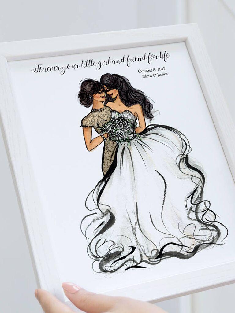 Custom mother daughter illustration