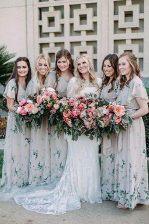 Bohemian Floral-Print Bridesmaid Dresses