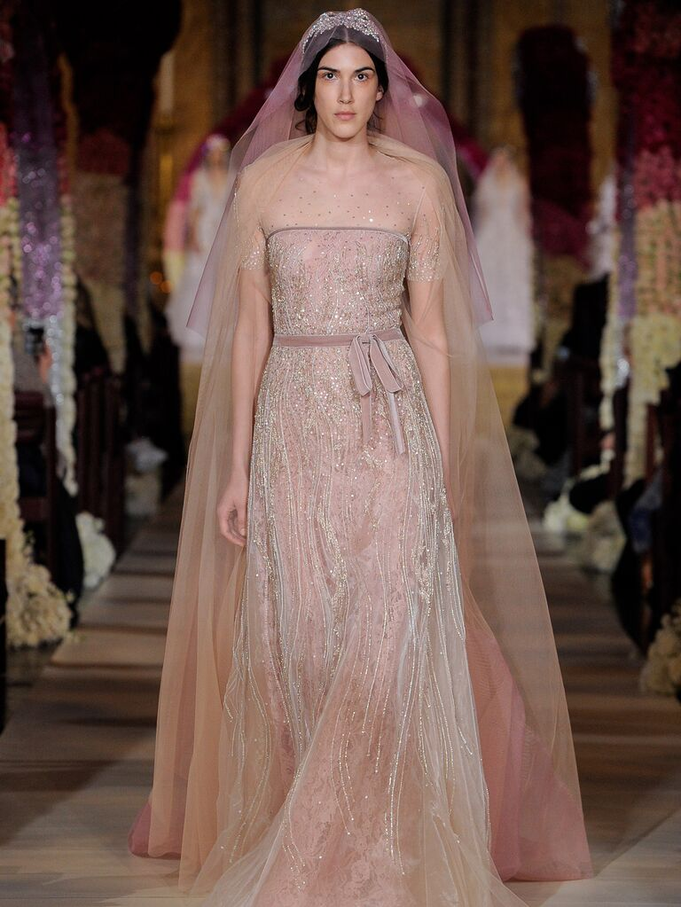 Reem Acra Spring 2020 Bridal Collection blush and champagne beaded wedding dress